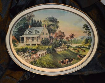 Metal Serving Tray with Currier and Ives Print