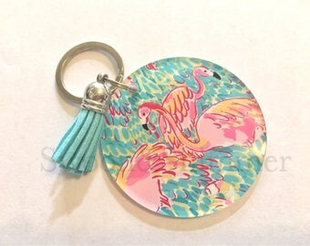 Flamingo Acrylic Blanks, 2.5 Inch Circles 1 Hole, tassel Keychain blanks, blank acrylics, circle keychains, monogram keychain, blue tassel