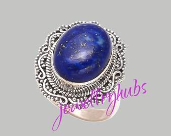 Lapis Ring Lapis Lazulli Ring Oval Lapis Statement Ring Blue Lapis Ring Bezel Ring Artisan Ring Gift For her, R21LP