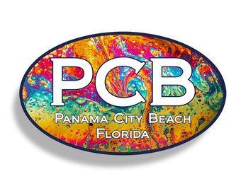 Panama City Beach LAVA PCB Sticker Custom Printed Oval Decal Cup Cooler Car Truck Laptop Graphic Florida FL