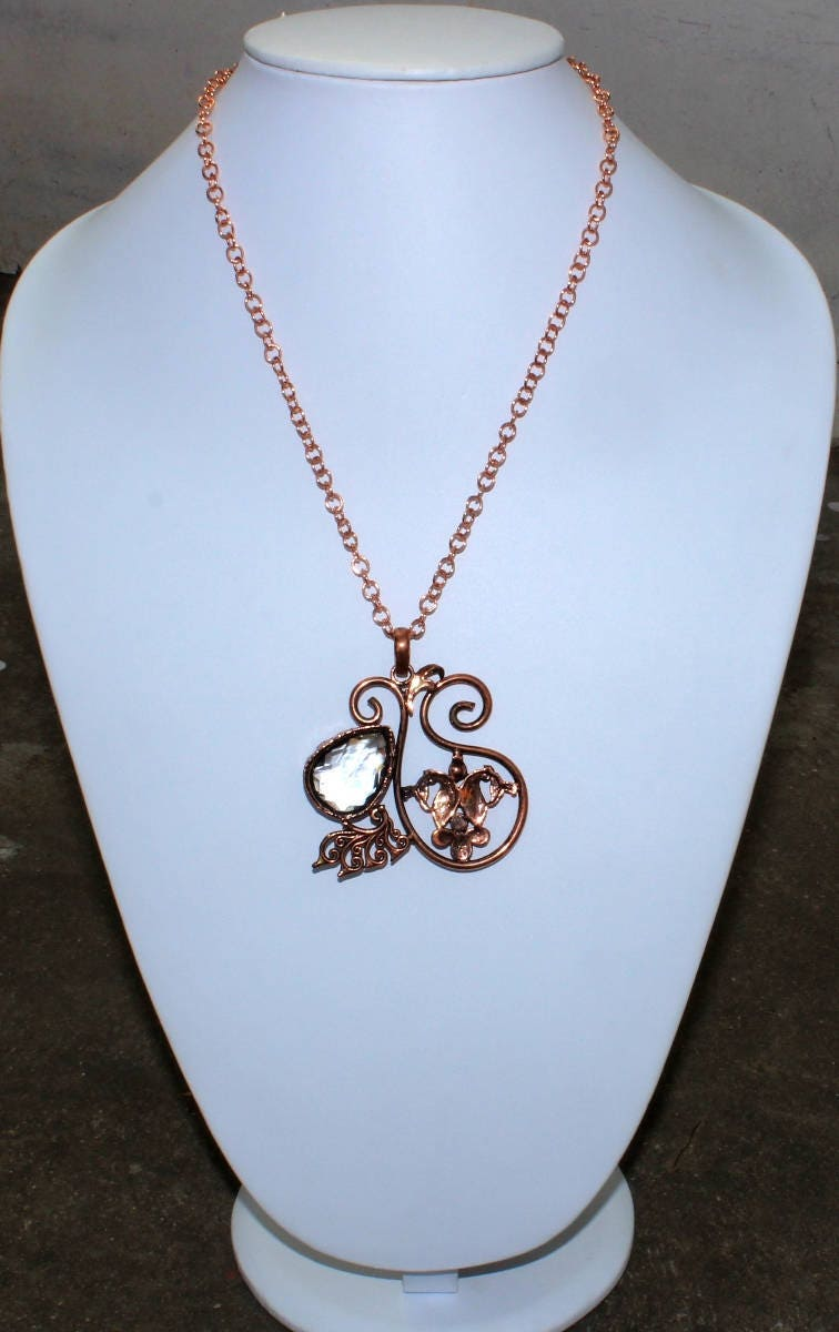 Copper Electroformed Crystal Necklace / Ancient Designer Peacock ...
