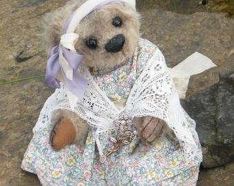 "Mohair Artist Bear - Agnes - beautiful mohair 16"" dressed bear"