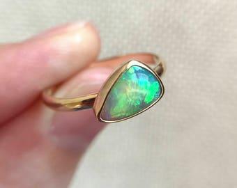 14K yellow gold ring with Australian black opal