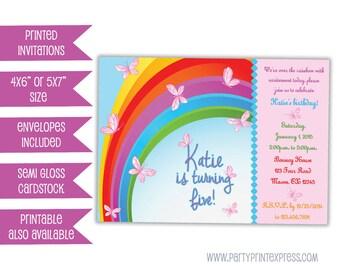 Butterfly Invitation - Butterfly Birthday Invitation - Girls Birthday Party - Rainbow Butterflies - Pink Butterfly Invite - Birthday Party