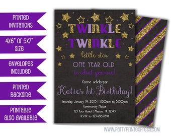 Twinkle Little Star Birthday Invitations - Purple First Birthday Invitations - Gold Glitter Star Birthday Invite - 1st Birthday Girl ONE