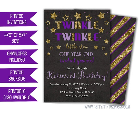 Twinkle Little Star Birthday Invitations Purple First Birthday - 1st birthday invitations girl purple