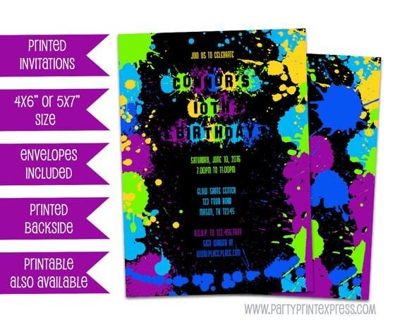 neon paint birthday invitations paint splatter invites neon