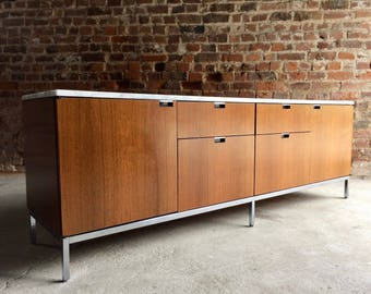 Florence Knoll Credenza Sideboard Marble Topped Light Walnut Mid Century