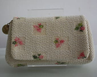 Vintage 1950s White Beaded Clutch