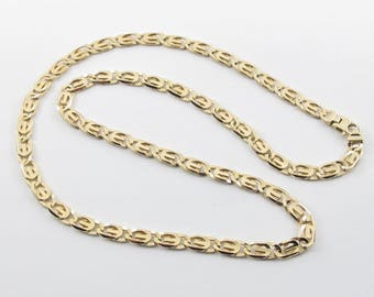 "Men's Tiger Eye Link Chain 10 kt Solid Yellow Gold Necklace 24.5"" 35.8 grams"