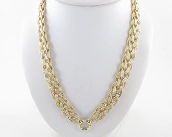 """14K Yellow Gold Weave Basket Braided Link Toggle Lock Chain Necklace 20 """" 28.9 g"""