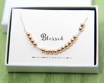 Blessed Necklace, Morse Code Necklace, Blessed Morse Code Necklace, Christian Necklace, Christian Jewelry, Religious Jewelry, Faith Jewelry