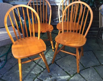Set of 4 vintage round back dining chairs