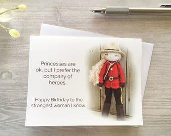 RCMP Birthday Card - Hero Birthday - Strong Women - Police Birthday Card - Card for her - Friend birthday - Police Birthday - Red Serge