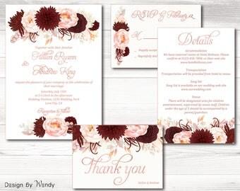 Burgundy & blush wedding invitation suite , printable marsala floral invitation rose gold font wedding invitation suite invite set 04