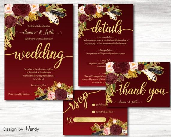 Burgundy And Gold Wedding Invitations: Burgundy And Gold Wedding Invitation Boho Wedding Invite Set