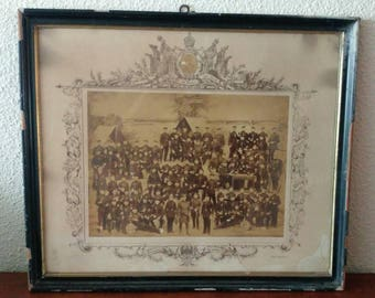 Antique German military framed photo memorial