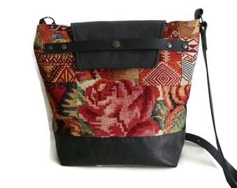 Gobelin shoulder bag, gobelin crossover, crossbody bag, tapestry shoulder bag, unique design, roses, kilim, OOAK bag, faux leather bag,
