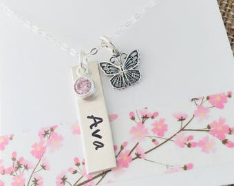 Butterfly Necklace, Sterling Silver Butterfly Necklace, Butterfly Name Necklace, Butterfly Jewelry, Personalized Butterfly