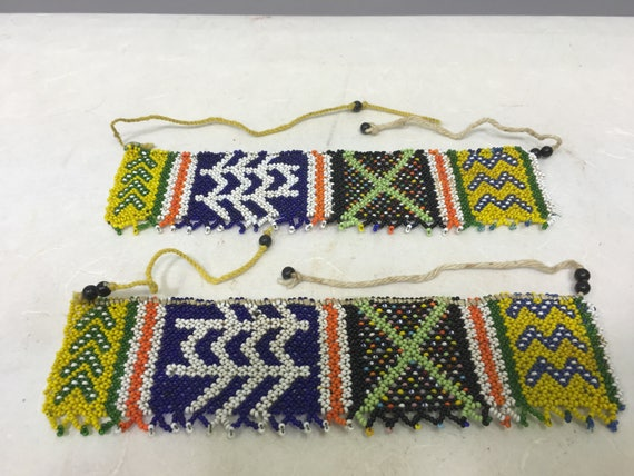African Zulu Pair Anklets Yellow Black Green South African Bride Beaded Zulu Anklets
