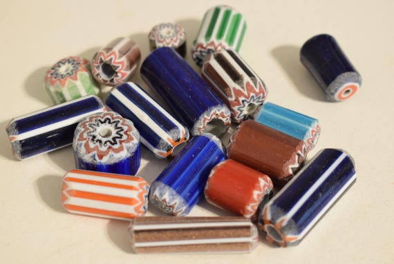 Beads African Large Assorted Chevron Glass Beads Necklaces Jewelry Bracelets Blue Green Red Beads
