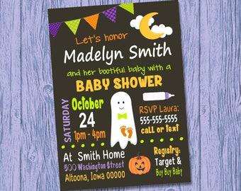 Custom Halloween Baby Shower Invitation Boy