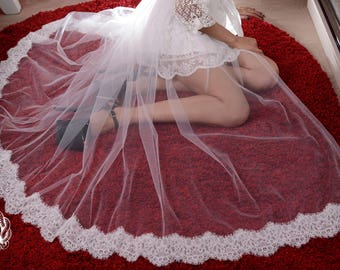 White or Black Tulle Train Tulle Tail Overskirt Overlay Skirt with Lace