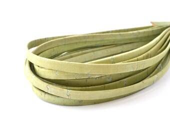 50 cm cord flat green jade 5mm Cork