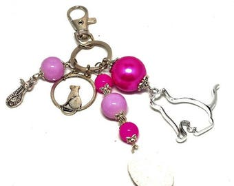A scent! silver plated bag charm, cats, pink beads charms
