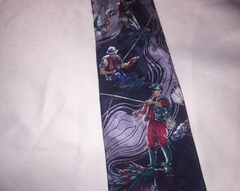 Sportsmans Necktie featuring Fishing as a theme; Mans Suit Tie
