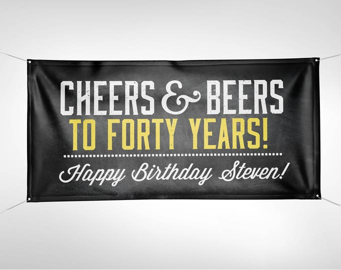 Banner, Digital file only, ANY AGE, Cheers and Beers banner, beer, 21st, 30th, 40th, 50th, 60th, 70th, Surprise Birthday, cheers,
