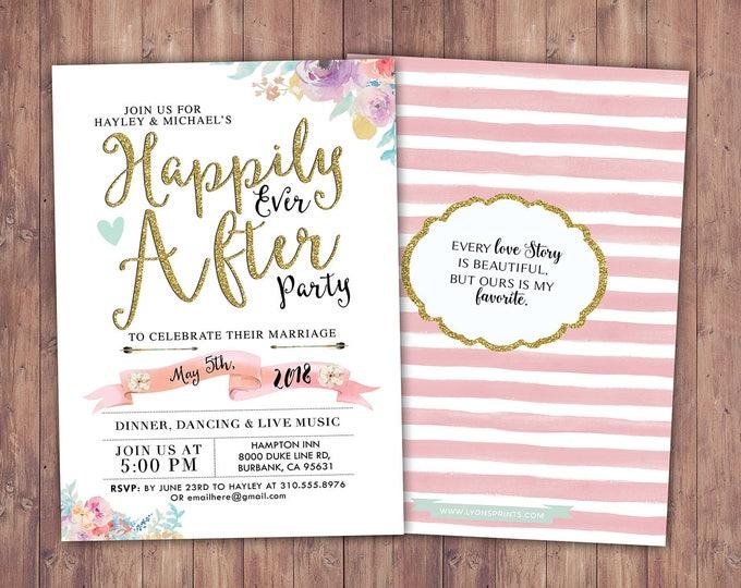 Happily ever after invitation, BOHO wedding shower Invitation, couples shower, arrows, wedding, bridal shower invitation, Digital file