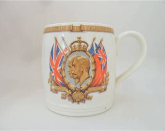 King George V and Queen Mary Coffee Mug Silver Jubilee 1935 Royal Family Commemorative Myott Staffordshire Vintage Souvenir