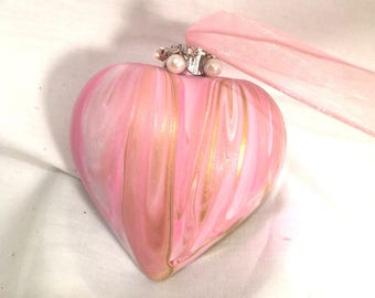 Pink White Gold Hand Swirl Acrylic Pour Painted Shatterproof Heart Ornament Rhinestones Pearls Ribbon