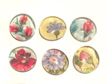 Chintz Flower Print Glass Magnets Blue Yellow Red x6