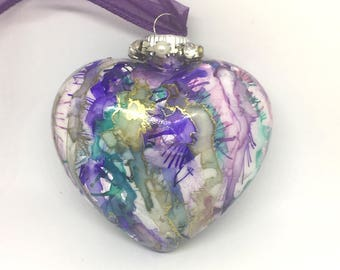 Purple Pink Blue Gold  Hand Painted Drip Alcohol Ink  Glass Heart Ornament Valentine