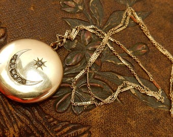 Victorian Mourning Hair Locket, Cresent Moon & Star, Young Man Photograph, Gold Filled