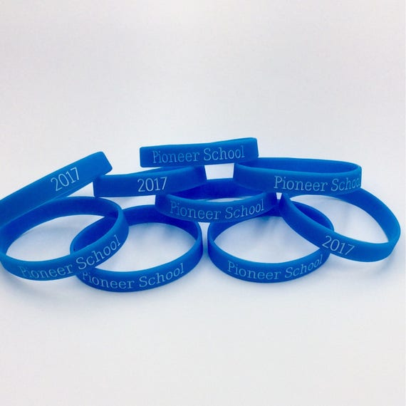 Lot of 10 - Pioneer School 2017 Silicone Wristbands in Blue or Black, Great for pioneer School Gifts!