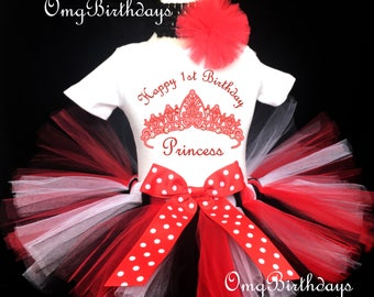 Fast Shipping - Birthday Red Princess Crown Black White Polka Dots first 1st Shirt & Tutu Set Girl Baby Outfit Party Dress Headband