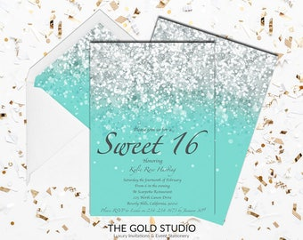 Sweet 16 invitation Teal Green Glitter | Sweet Sixteen Birthday Party Invitations | Turquoise 16th Birthday Party Invitations FREE SHIPPING