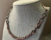 Rustic twisted necklace, thick copper necklace cuff, choker style