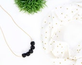 Silicone Teething Necklace for Mom - Nursing & Babywearing Distraction Necklace – Black Geometric BPA free Silicone Beads – Baby Shower Gift