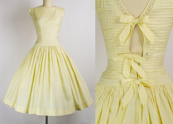 1950s Yellow Cotton Dress w/ Bow Back   XS (32B/24W)