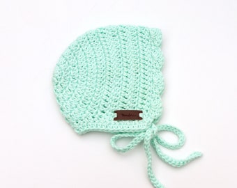 Newborn Bonnets - Crochet Newborn Bonnets - Girl Baby Bonnets - Baby Bonnets Cotton - Mint Blue Baby Bonnet - Ria Bonnet - Baby Hat Girl