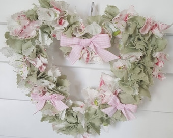 Heart shabby chic - shades of pink and pale green - unique decoration