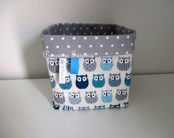 Reversible - cotton storage basket small owls