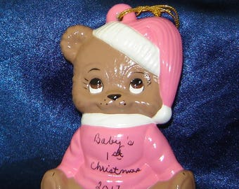 Babys First Christmas Ornament - Baby's 1st Christmas Ornaments - Bear Ornaments - Ceramic Ornaments - Pink Ornaments