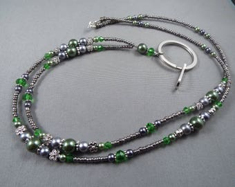 "Beaded breakaway lanyard green and gray glass pearls and crystals 32"" to 46""ID badge holder with magnetic or toggle clasp  ,unique fashion"