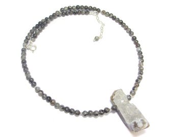 Labradorite and Quartz Druzy - stone necklace and Sterling Silver 925