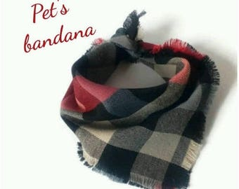 15% off For pets gift dog bandana plaid dog bandana collar dog collar dog scarf dog neckwear pet bandana red grey dog bandanas dog lover gif